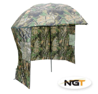 "NGT 45"" Brolly in Camo with Zip on Side Sheet"
